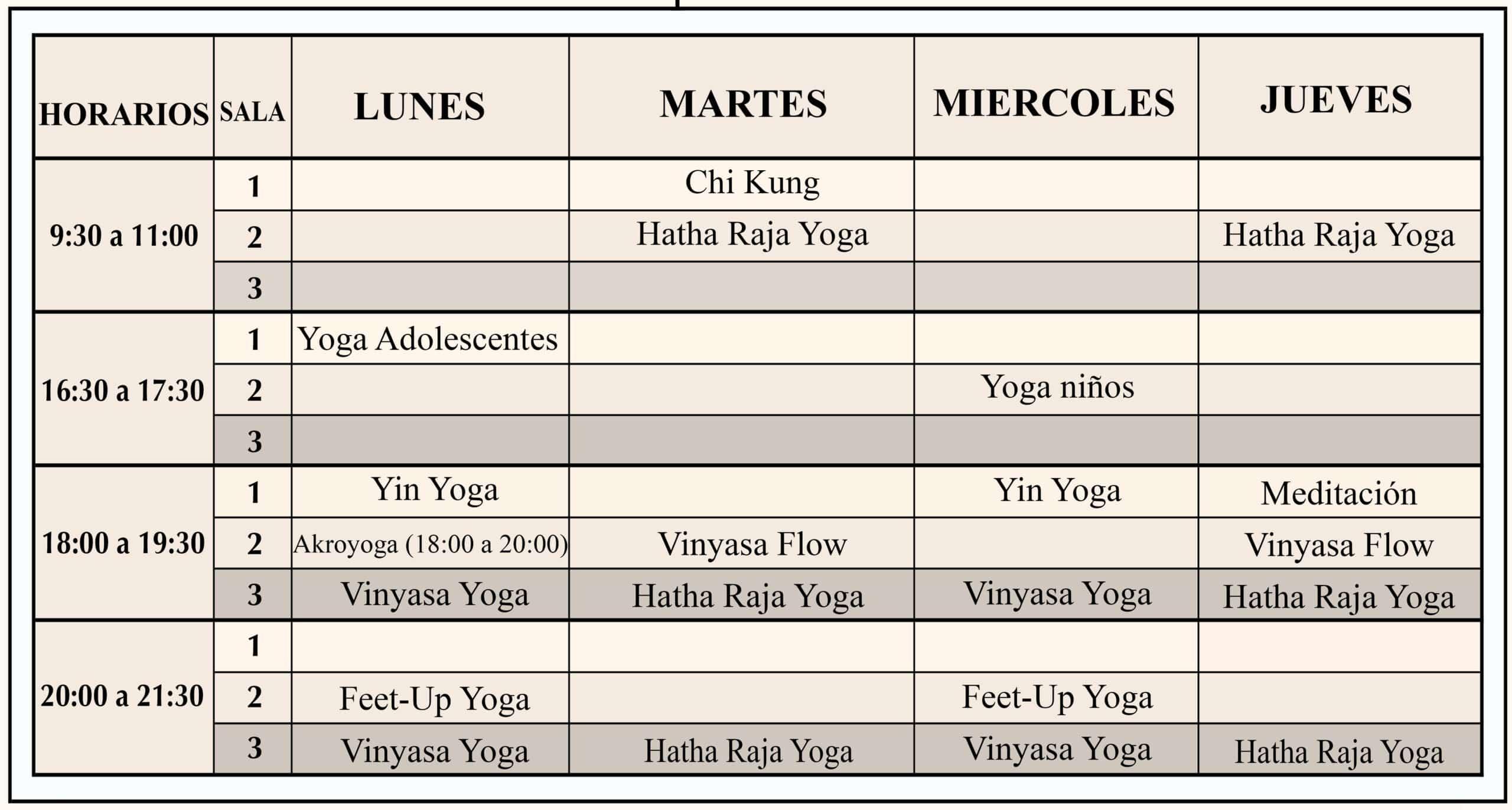 centro de yoga horario larrabide